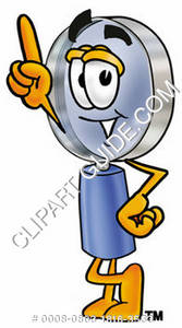 Cartoon Magnifying Glass Character Pointing Upward