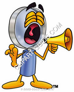 Cartoon Magnifying Glass Character Screaming Into Megaphone