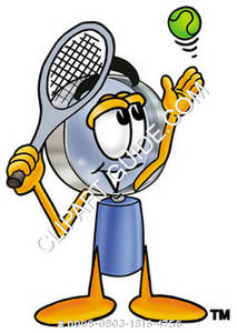 Cartoon Magnifying Glass Character Playing Tennis