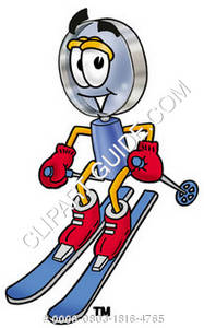 Cartoon Magnifying Glass Character Skiing