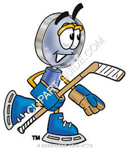 Cartoon Magnifying Glass Character Playing Hockey