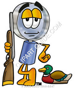 Cartoon Magnifying Glass Character Duck Hunting