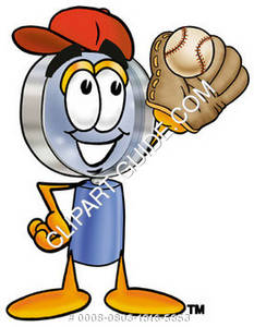 Cartoon Magnifying Glass Character Catching Baseball