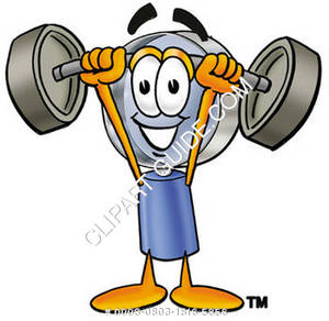 Cartoon Magnifying Glass Character Weightlifting