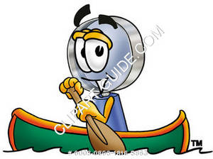 Cartoon Magnifying Glass Character Kayaking