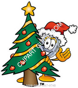 Cartoon Magnifying Glass Character Behind Christmas Tree