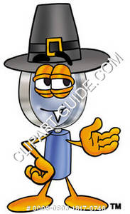 Cartoon Magnifying Glass Character Wearing Pilgrim Hat