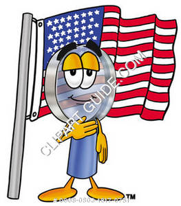 Cartoon Magnifying Glass Character Standing By American Flag
