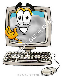 Cartoon Cloud Character Waiving On Computer Screen