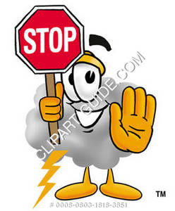 Cartoon Cloud Character Holding Stop Sign