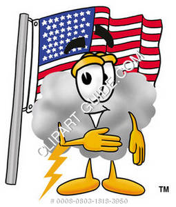 Cartoon Cloud Character Standing By American Flag