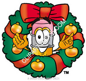 Cartoon Pencil Character In Christmas Wreath