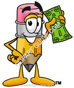 Cartoon Pencil Character Holding Money