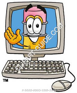 Cartoon Pencil Character Waiving In Computer Screen