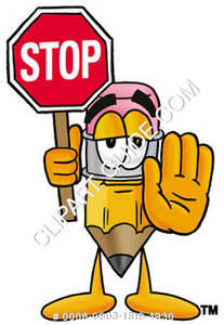 Cartoon Pencil Character Holding Stop Sign