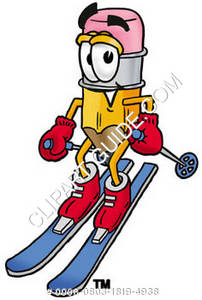 Cartoon Pencil Character Skiing