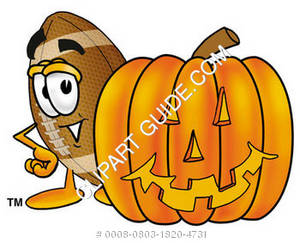 Cartoon Football Character Behind Jack-O-Lantern