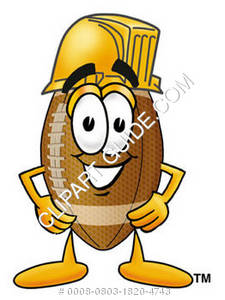 Cartoon Football Character Wearing Hardhat