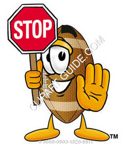 Cartoon Football Character Holding Stop Sign