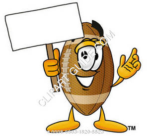 Cartoon Football Character Holding Sign