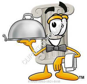 Cartoon Pillar Character Serving Food