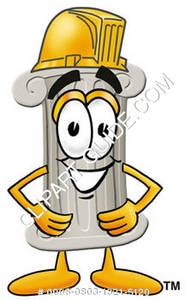 Cartoon Pillar Character Wearing Hardhat