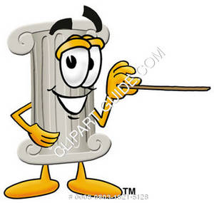 Cartoon Pillar Character With a Pointer
