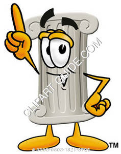 Cartoon Pillar Character Pointing Upward