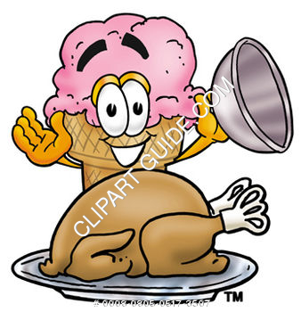 Clipart Cartoon Ice Cream Cone Character with a Thanksgiving Turkey