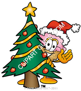 Clipart Cartoon Ice Cream Cone Character behind a Christmas Tree