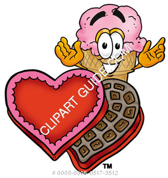 Clipart Cartoon Ice Cream Cone Character with Valentine's day Chocolates