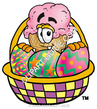 Clipart Cartoon Ice Cream Cone Character in an Easter Basket