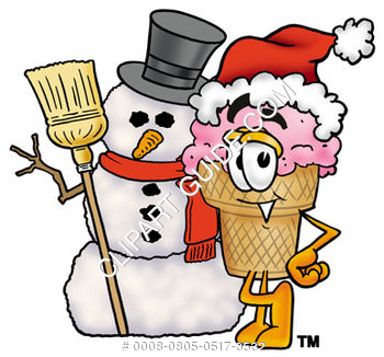 Clipart Cartoon Ice Cream Cone Character with a Snowman