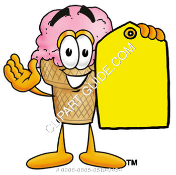 Clipart Cartoon Ice Cream Cone Character Holding a Tag