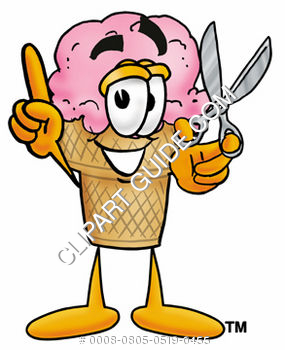 Clipart Cartoon Ice Cream Cone Character Holding Scissors