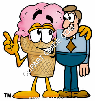 Clipart Cartoon Ice Cream Cone Character with Man