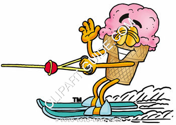 Clipart Cartoon Ice Cream Cone Character on Ski's