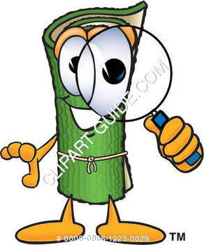 Carpet Roll Character Holding a Magnifying Glass