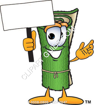 Carpet Roll Character Holding a Sign