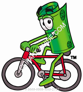 Cartoon Money Character Riding A Bike