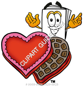 Cartoon Paper Character With Valentines Chocolates
