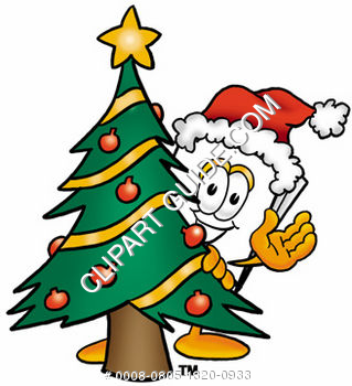 Cartoon Paper Character With A Christmas Tree
