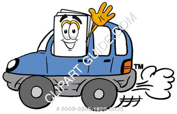 Cartoon Paper Character Driving