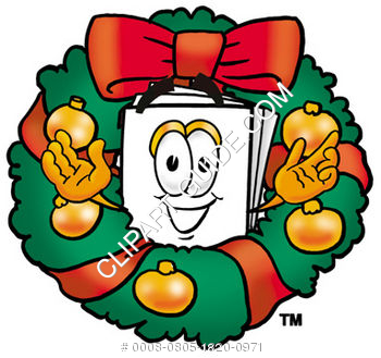 Cartoon Paper Character In A Christmas Wreath