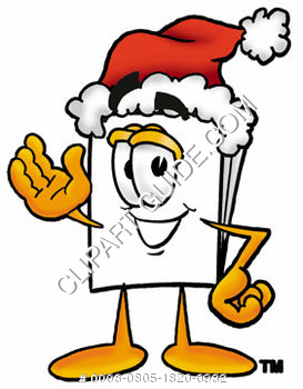 Cartoon Paper Character Wearing A Santa Hat