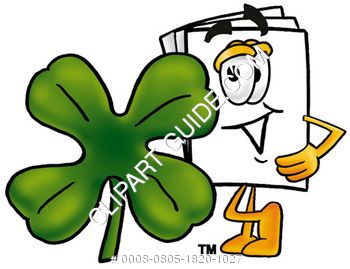 Cartoon Paper Character With A Four Leaf Clover