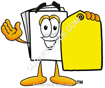 Cartoon Paper Character With A Price Tag