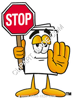 Cartoon Paper Character Holding A Stop Sign