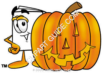 Cartoon Paper Character With A Halloween Pumpkin