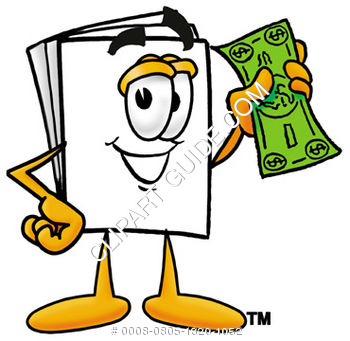 Clipart cartoon paper character holding money